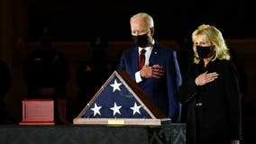 Biden, first lady pay tribute to fallen Capitol police officer who lies in honor at Rotunda