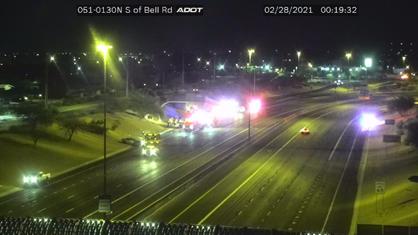 State Route 51 closed at Bell Road in Phoenix due to crash