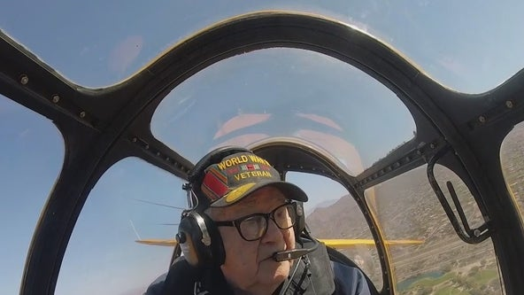 WWII veteran takes flight in a 1940s plane from Falcon Field in Mesa