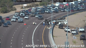 Gas tanker rolls over, spilling fuel on Loop 202 near Dobson