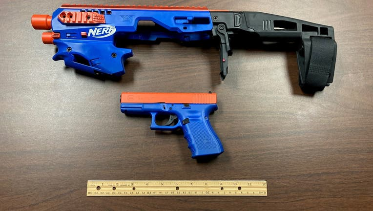 A Glock pistol that officials with the Catawba County Sheriff's Office say was modified to look like a toy Nerf gun