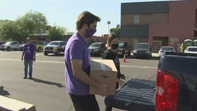 Grand Canyon University students help distribute food boxes to families in need