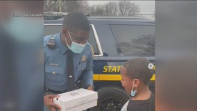 Delaware State Trooper surprises boy with basketball sneakers after striking up friendship on court