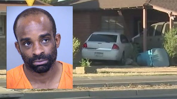 Suspect accused of murder, aggravated assault after car crashes into Phoenix home