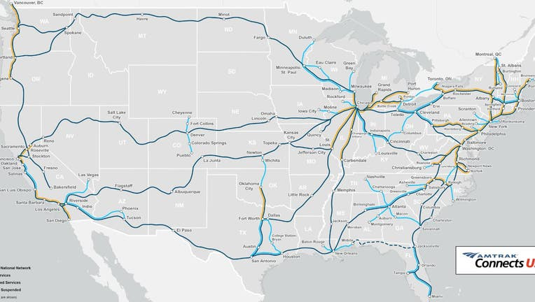 A map of the new routes outlined in Amtrak's 2035 expansion project.