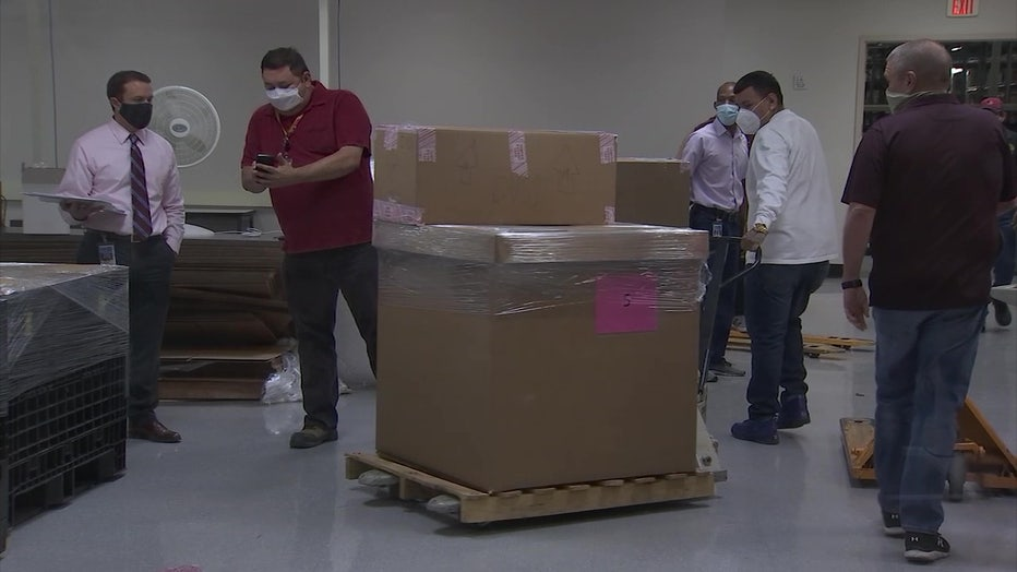 Voting machines packed for moving to Veteran Memorial Coliseum