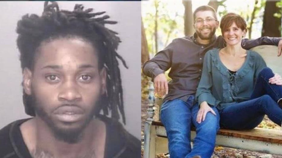 Dejywan R. Floyd, 29, is pictured in a provided booking image, alongside a photo of Ryan and Julie Eberly. (Photo credit: Robeson County Sheriff's Office / Eberly family)