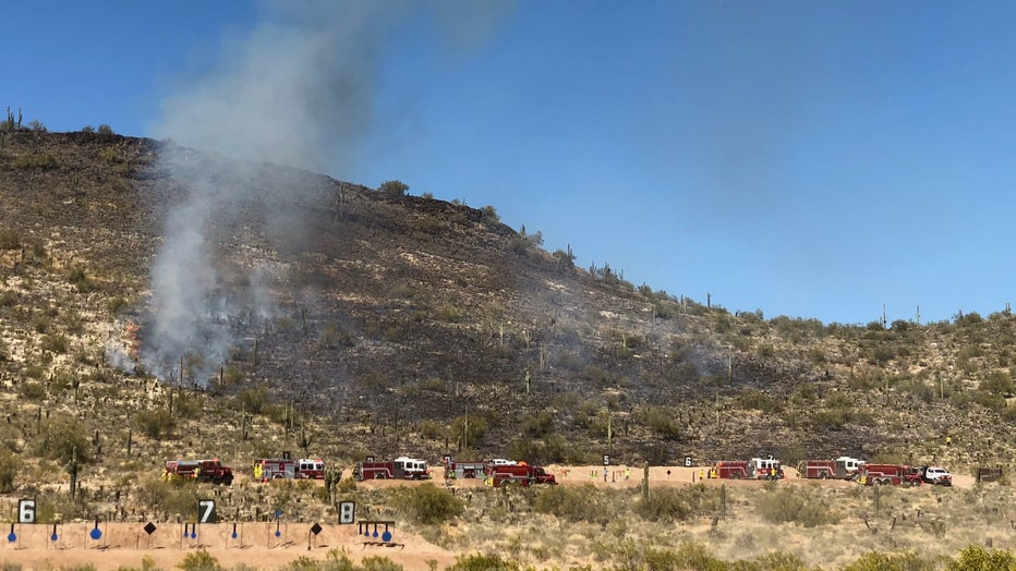 Brush fire at Ben Avery range