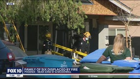Family of 6 displaced by house fire in Phoenix