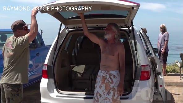 Surfing community surprises man fallen on hard times with new minivan
