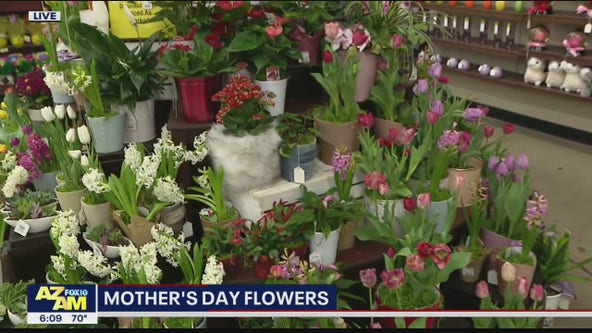 Buying Mother's Day flowers at Safeway