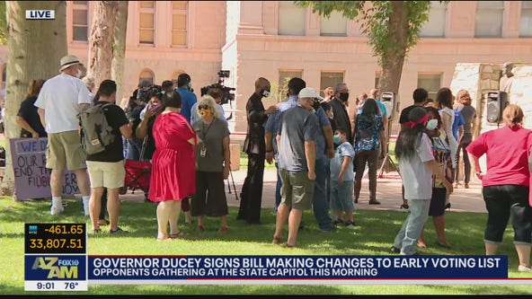 Opponents of voting bill signed by Gov. Ducey gather at state Capitol