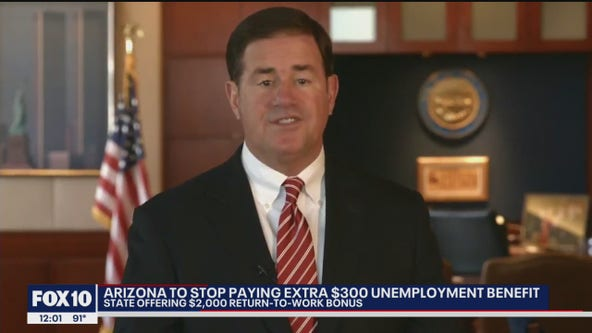 Arizona to stop paying extra $300 unemployment benefit