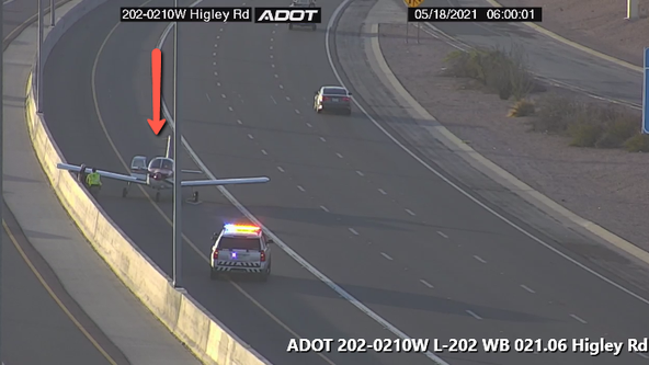 Plane lands on Loop 202 near Higley Road in Mesa