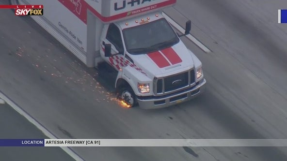 Police in pursuit of suspected stolen U-Haul on the 91 Freeway