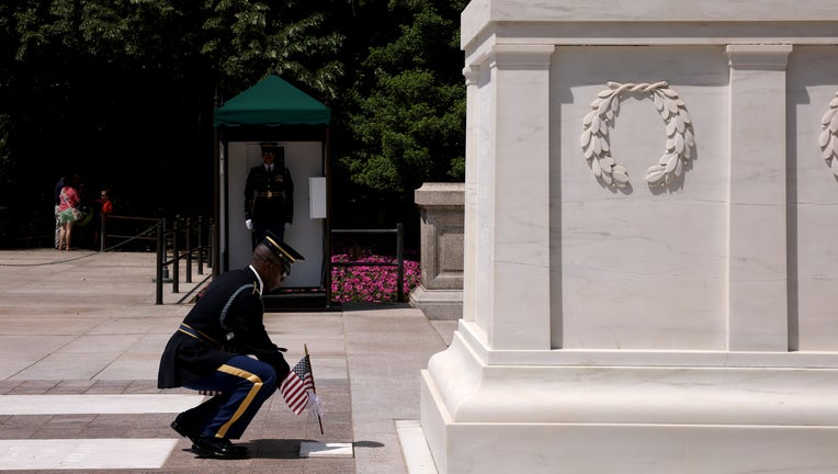 Annual Flags-In Ceremony Held At Arlington Cemetery Ahead Of Memorial Day