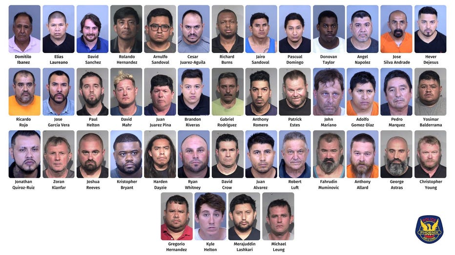Photos of the suspects involved in Phoenix PD's undercover massage parlor sting