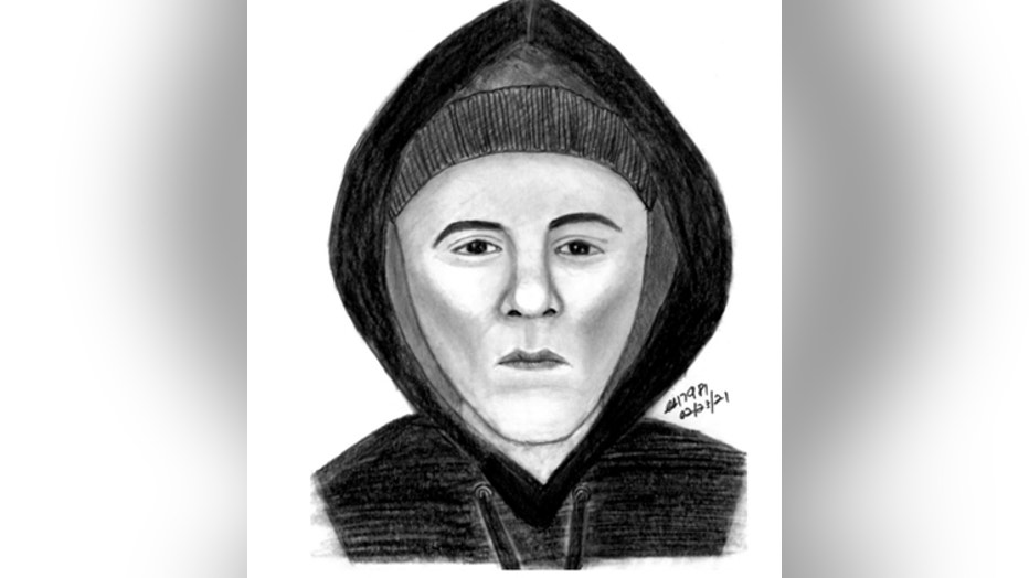 A sketch of a person who allegedly killed Joseph Siebold in February 2021.