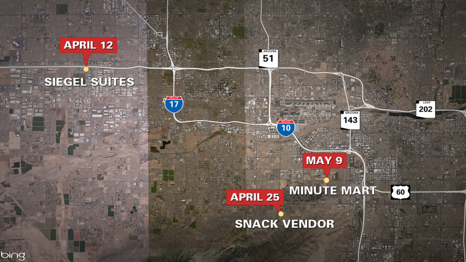 A map showing where the armed robberies occurred
