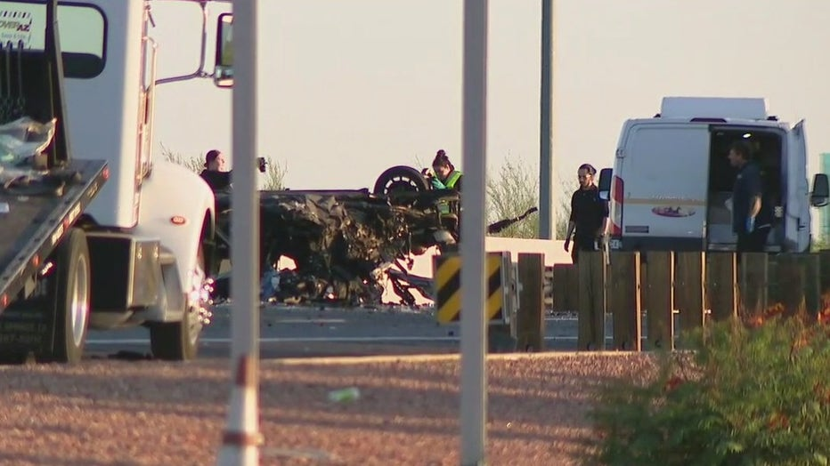 Car flipped over on Loop 101
