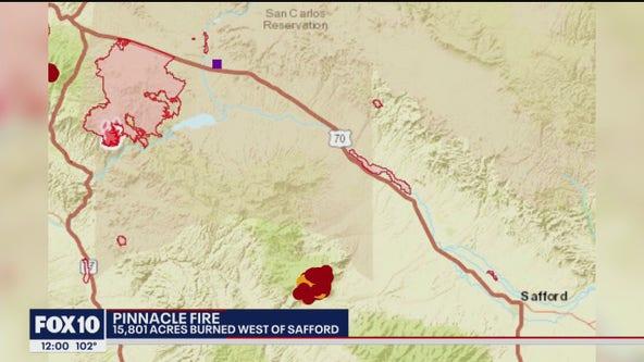 Pinnacle Fire burns 15K acres near Safford
