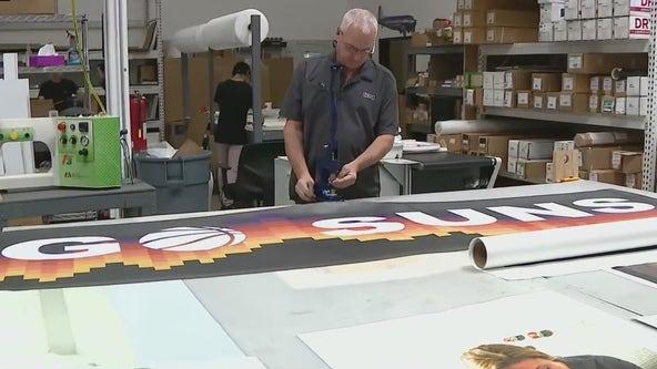 #RallytheValley: Artisan Colour prints large Suns banners