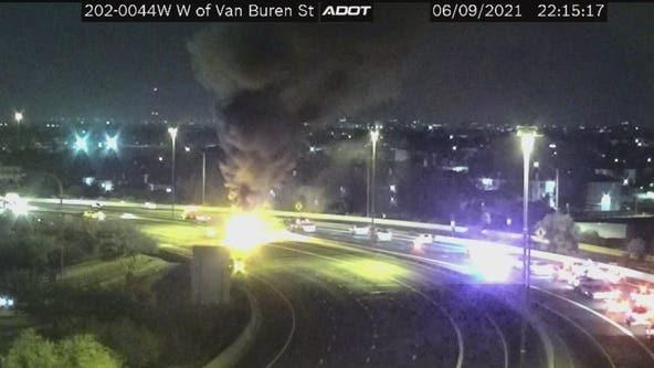 4 dead, 9 injured in fiery, multi-vehicle crash involving milk tanker on Loop 202