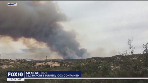 Mescal Fire burning near Globe now 100% contained
