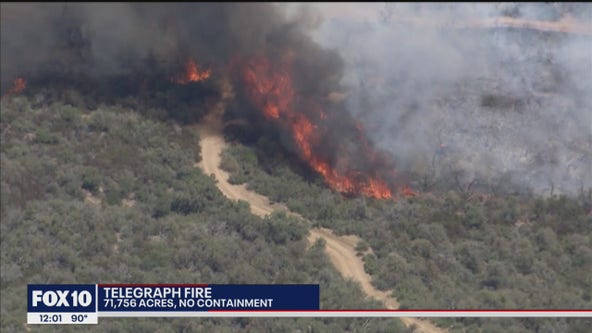 Telegraph Fire burns over 71K acres in south-central Arizona