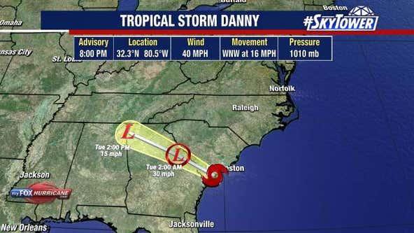 Tropical Storm Danny makes landfall on South Carolina coast