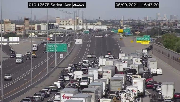 A view of the freeway closure on the I-10 near Estrella Parkway.