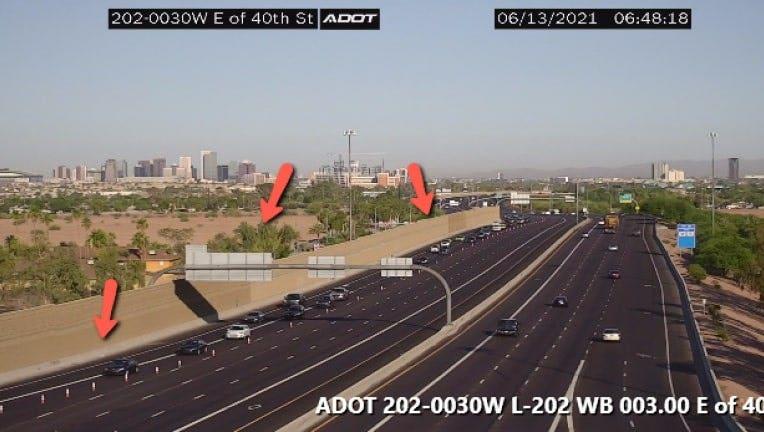 An ADOT camera showing Loop 202 at 40th Street.