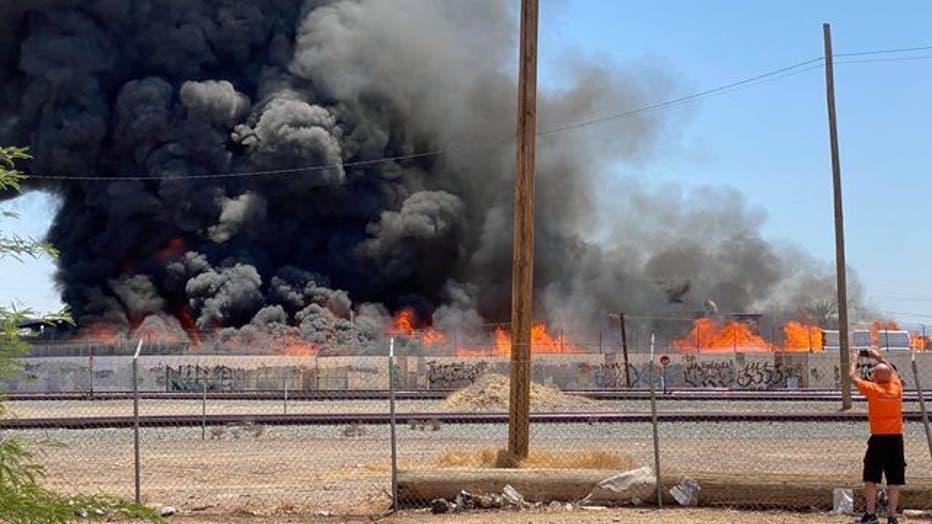 Scene of a recycling yard fire