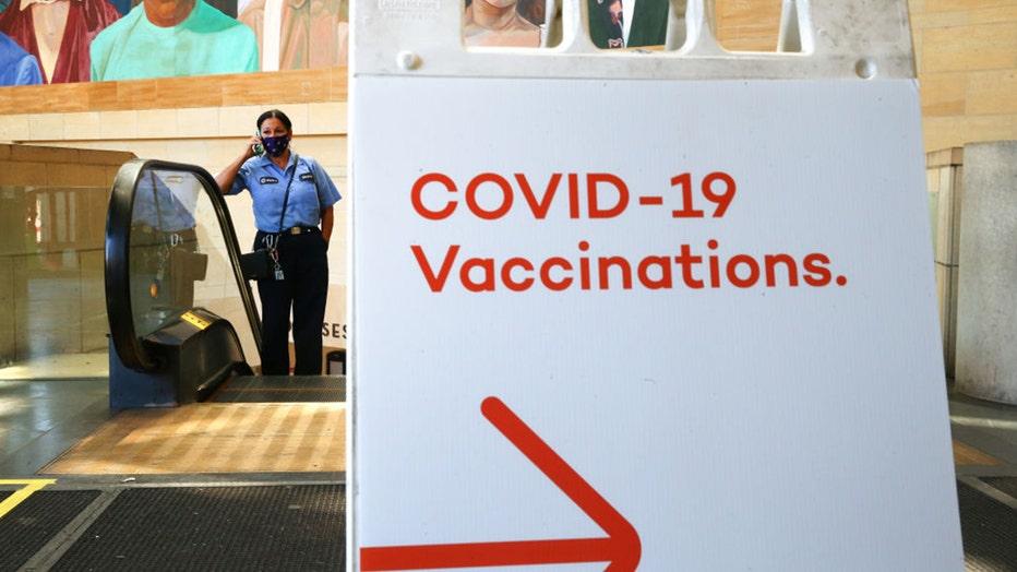 COVID-19 vaccine sign