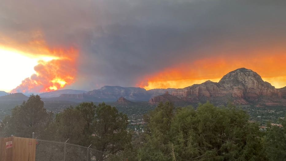 A view of the Rafael Fire near Sedona.