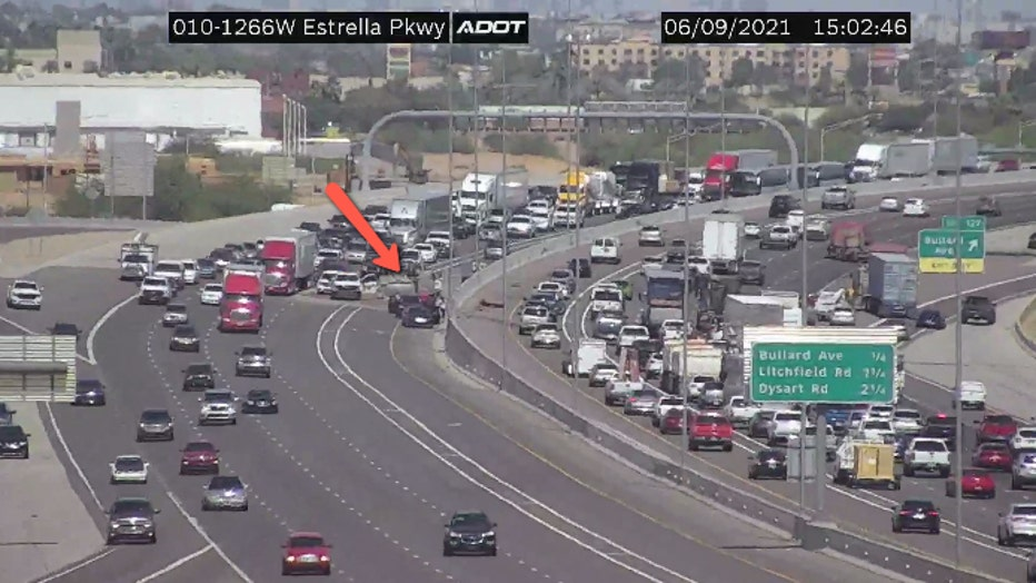 Traffic camera showed the crash before the freeway closed.