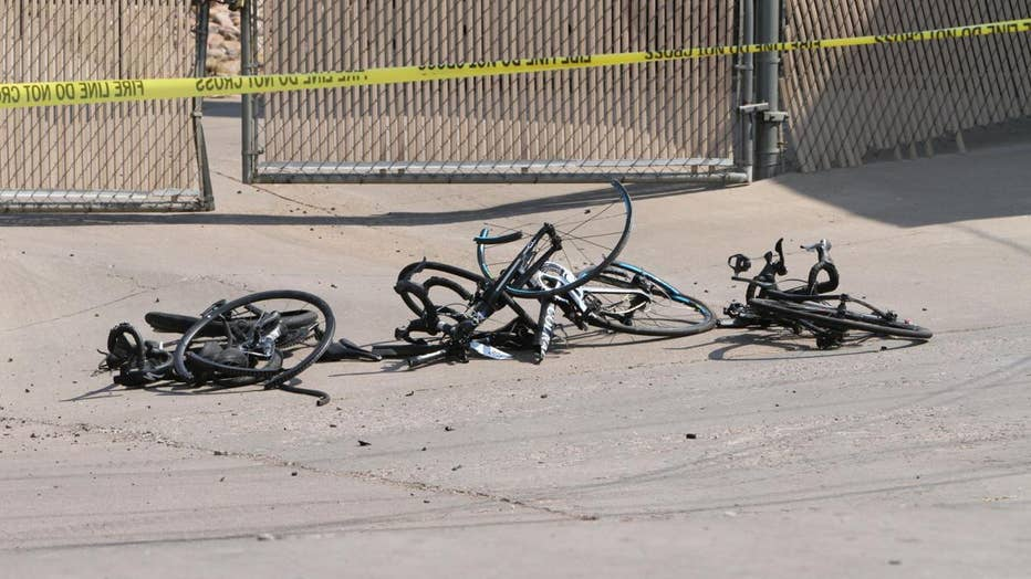 Crumpled bicycles laying on the ground