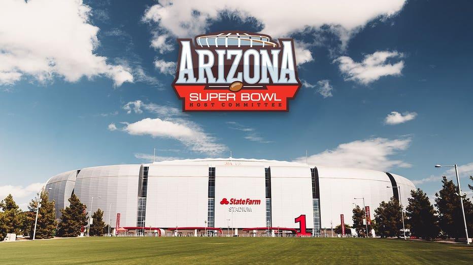 The Arizona Super Bowl Host Committee's logo above State Farm Stadium in Glendale.