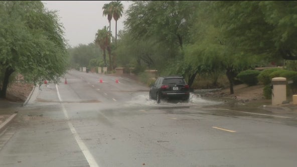 Monsoon storms causes streets to flood in the Valley