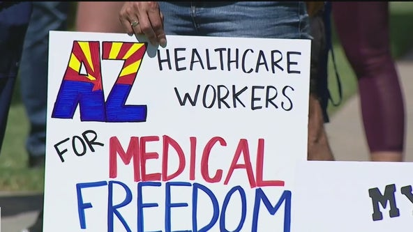 Arizona health care workers protest vaccine policies at state Capitol