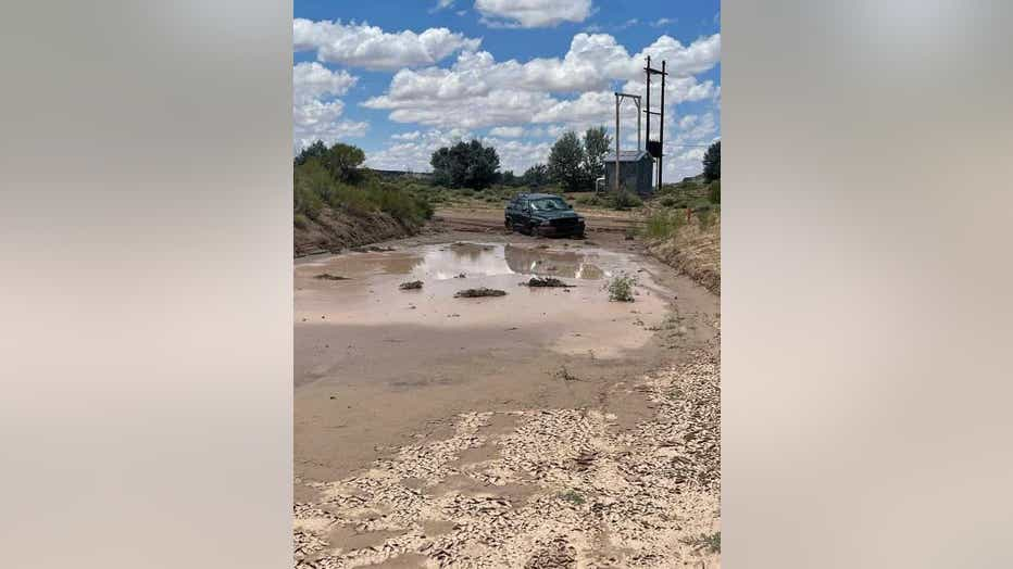 Flooded road in Navajo Nation. Photo courtesy of Wallace James Jr.