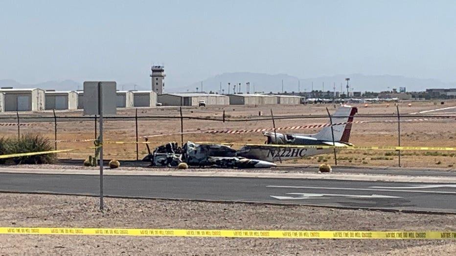 A photo of the plane crash at Chandler Municipal Airport.