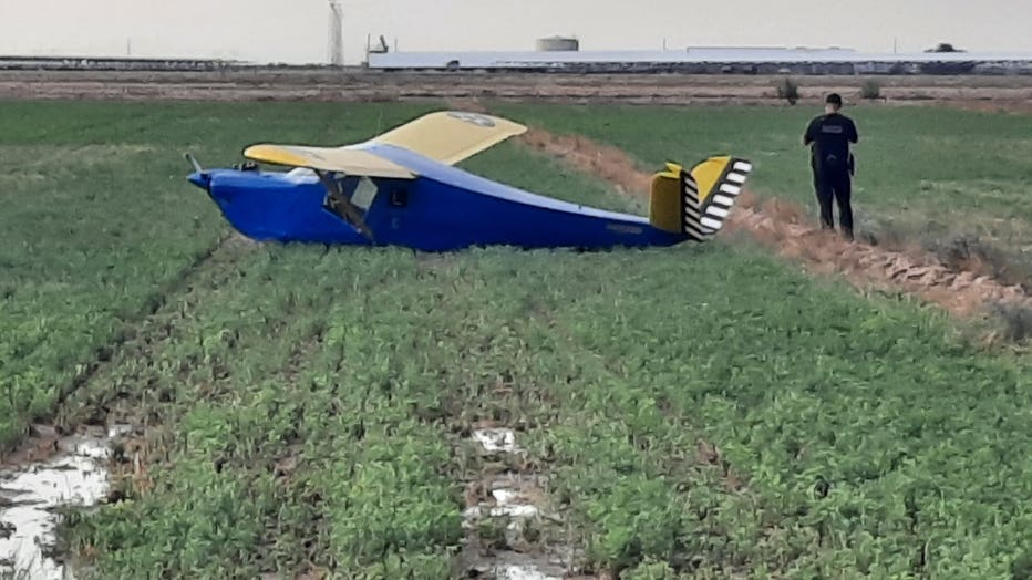 Downed private plane on Saturday, July 24. Photo courtesy of Buckeye Valley Fire.