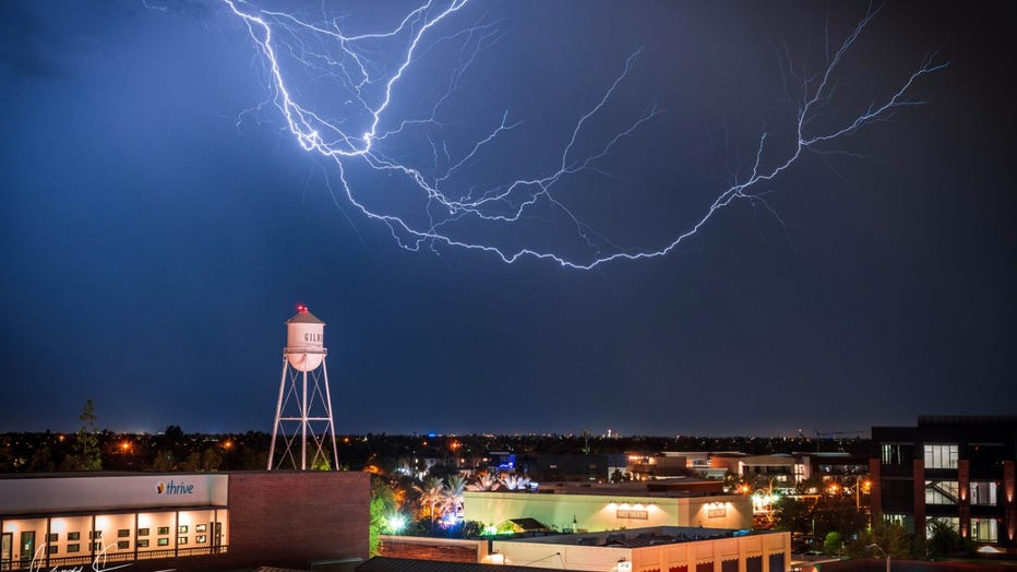 Downtown Gilbert during a July 10 monsoon. Photo by James Keeling