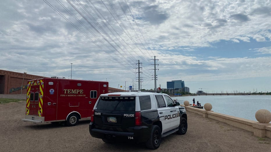 Tempe fire truck, police car at Tempe Town Lake