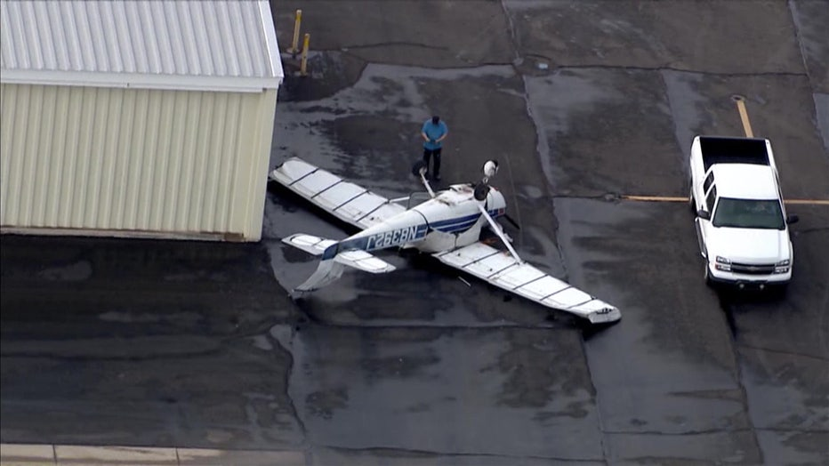 A plane that flipped over during a storm on July 15, 2021 at Falcon Field in Mesa.