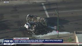 FD: 1 dead, 6 hurt in fiery multi-car crash at Phoenix intersection