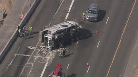 Rolled cement, garbage trucks block traffic on Phoenix-area freeways