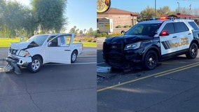 Suspected impaired driver crashes head-on into Peoria officer's SUV