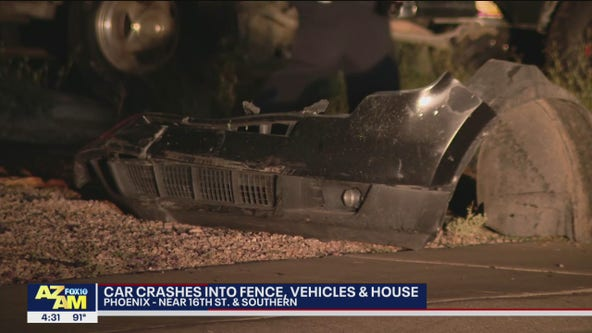 Phoenix Police search for driver that crashed into South Phoenix home